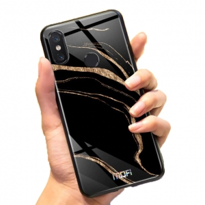 Mofi Glass Back Cover Xiaomi Pocophone Golden Black