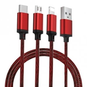 Remax Agile kabel USB 3w1 1m 2.8A PD-B31 Red